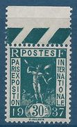 FRANCE - YT N°323 - 30c. Vert-bleu - Exposition Internationale De Paris - Neuf* TTB Etat - France