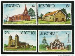 """Lesotho       """"Christmas-Chuch""""     Set    SC# 314-17   MNH** - Lesotho (1966-...)"""