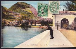 CPA - GRENOBLE (38 - ISERE) - PORTE DE L'ILE VERTE, L'ISERE ET LE SAINT EYNARD (N° 164) - ANIMEE - Grenoble