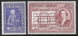 Ruanda Urundi, Scott # B21-2 Mint Hinged Mozart, 1956 - Ruanda-Urundi