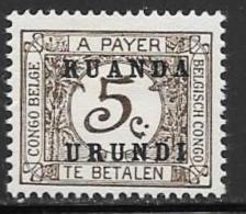 Ruanda Urundi, Scott # J1 Mint Hinged Postage Due, 1924 - Ruanda-Urundi