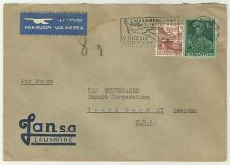 CHCV040 Switzerland 1947 Lausanne P.T.P.O. Cover Tied Slogan, Definitive 1f Ludwig Pfyffer, 10C Chillon Castle To USA - Switzerland
