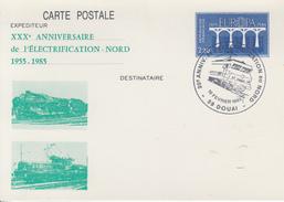 Carte   Entier  Postal  Repiqué   30éme  Anniversaire   ELECTRIFICATION   NORD   DOUAI   1985 - Trains