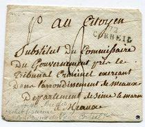SEINE ET OISE De CORBEIL Env. Non Datée Marque Linéaire 27x9 Taxe De 3 Pour MEAUX+ Verso Cachet COMMUNE DU VIEUX CORBEIL - 1701-1800: Precursori XVIII