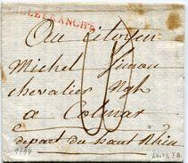 RHONE De VILLEFRANCHE LAC Du 16/09/1794 Linéaire 46x7,5 Taxée 10 Pour COLMAR - Storia Postale