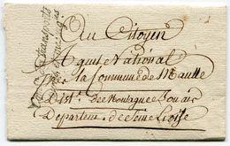 VERSAILLES LAC En Franchise Du 21/01/1795 Marque Senchal N°687 Commission Des Transports Postes Et Messageries - Postmark Collection (Covers)