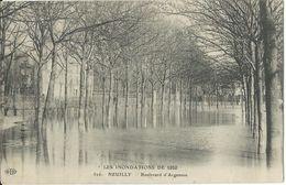 France LES INONDATIONS DE 1910.CPA 826.- NEUILLY Boulevard D'Argenson - Francia