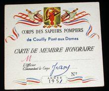 1951 Carte Membre Honoraire Pompiers Pompier Couilly Pont Aux Dames - Près De Coulommiers & Meaux Seine Et Marne - Pompiers