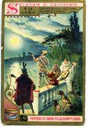 628> Figurina LIEBIG Serie: Serenate Di Carnevale = A La Luna = Capitan Fracassa Arlecchino Pulcinella Pierrot Anno 1898 - Liebig