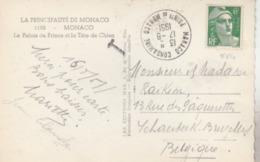 CPM Taxée Pour La Belgique - Utilisation Du N° 884 à Monaco. (TTB) Thématique Gandon. - Postmark Collection (Covers)