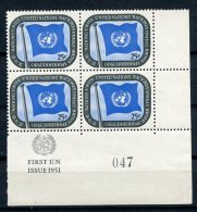 United Nations New York, 1951, 25 C Definitive, LR MI4, Control Number, First Printing, MNH, Gaines 9.1(b) - New York -  VN Hauptquartier