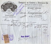 VP11.314 - Facture - Fabrique De Chaînes & Bracelets Or GROSS LANGOULANT & Cie à PARIS Rue Du Temple - France