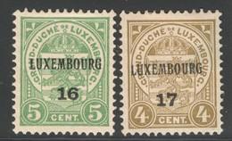Luxemburg Yvert/Prifix Preo 1916, 1917 108(*) Et 112(*) TB Sans Défaut Cote EUR 50 (numéro Du Lot 235TL) - Luxembourg