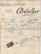 VP11.322 - Facture - Coutellerie , Orfévrerie CARDEILHAC Fabricant à PARIS Rue De Rivoli - France