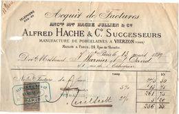 VP11.326 - Facture - Manufacture De Porcelaines à VIERSON ( Cher ) Alfred HACHE & C°. Successeurs à PARIS Rue De Paradis - France