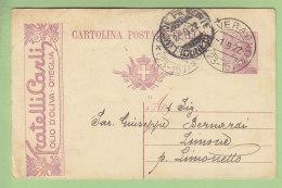Entier Postal Publicitaire : Fratelli Carli, Olio D'oliva, à ONEGLIA. Oneille. 2 Scans. - 1900-44 Victor Emmanuel III