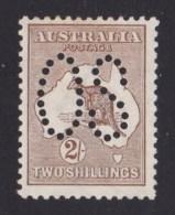 Australia 1913 Kangaroo 2/- Brown 1st Watermark Perf Large OS MH - Mint Stamps