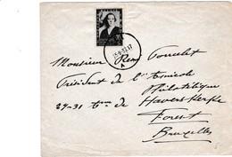 Brief Met Zegel 456 Afgestempeld SPA 15-9-37 - Entiers Postaux