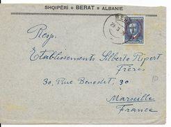 ALBANIE - 1928 - ENVELOPPE De BERAT => MARSEILLE - Albanie