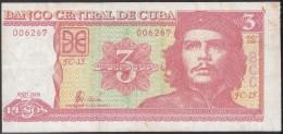 2006-BK-135 CUBA 2006 3$ ERNESTO CHE GUEVARA CUT ERROR No.006267. USED - Cuba