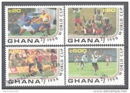 Ghana 1990 Yvert 1162-65, Italia ´90, Football World Cup, Soccer - MNH - Ghana (1957-...)