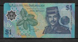 Negara Brunei Darussalam Satu Ringgit One Dollar Polymer Note, As Per Scan Condition - Brunei
