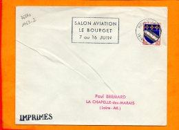SEINE MME, Rouen, Flamme à Texte, Salon Aviation Le Bourget 7-16 Juin - Postmark Collection (Covers)