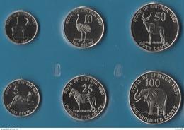 ERITREA COIN SET 6 MONNAIES: 1 CENT - 100 CENTS 1997 ANIMALS - Erythrée