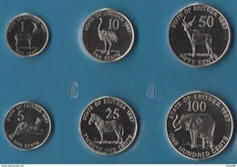 ERITREA COIN SET 6 MONNAIES: 1 CENT - 100 CENTS 1997 ANIMALS - Eritrea