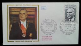 FDC 1975 - YT N°1839 - PRESIDENT GEORGES POMPIDOU - MONTBOUDIF AURILLAC SAINT FLOUR - 1970-1979