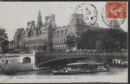 FRANCIA - PARIGI - HOTEL DE LA VILLE ET LE PONT D'ARCOLE  - B/N PRIMI NOVECENTO -  VIAGGIATA 1910 - Francia