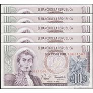 TWN - COLOMBIA 407g2 - 10 Pesos Oro 7.8.1980 DEALERS LOT X 5 UNC - Colombie