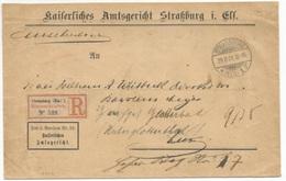 C944 - STRASSBURG Pour STRASSBURG - 1901 - RETOUR - Recommandé Franchise Postale Tribunal - - Alsace-Lorraine