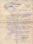 VP11.337 - Police -  Lettre - Taillerie De Diamants A. EKNAYAN  Diamants à PARIS Rue De Provence - Police & Gendarmerie