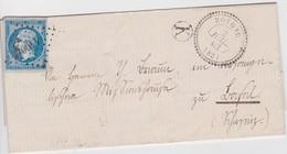 ALSACE-LORRAINE 1862 LETTRE DE ROTHAU AVEC CACHET PERLE ET BOITE RURALE K  PETIT CHIFFRE 4490 - Marcophilie (Lettres)