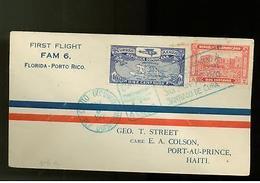 1929 Dominican Republic First Flight Cover Haiti W/ Map - Dominican Republic