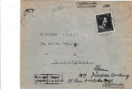 Brief Met Postzegel 644. Afstempeling DIKSMUIDE. In De Bus Gevonden. - Entiers Postaux