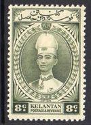 Malaya Kelantan 1937-40 Sultan Ismail 8c Grey-olive Definitive, Hinged Mint, SG 45 - Kelantan
