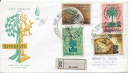 SOMALIA  - 1960 - ENVELOPPE FDC RECOMMANDEE De MOGADISCIO => NENISE (ITALIE) - ANNEE Du REFUGIE - Somalie (1960-...)