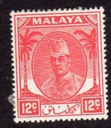 Malaya Kelantan 1951-5 Sultan Ibrahim 12c Scarlet Definitive, Hinged Mint, SG 70 - Kelantan