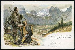 """München 1899 (Aug.) PP 5 Pf. Wappen: Allgemeine Deutsche Sport-Ausstellung = Alpinist U. Alpine Ausrüstung Mit """"Kindl"""" U - Stamps"""