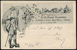 Nürnberg 1898 (13.8.) PP 5 Pf. Wappen, Grün: 29. (25.) General-Versammlung Des Deutsch. U. Oesterr. Alpen-Vereins In Nür - Stamps