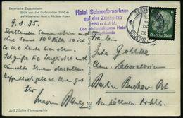 SCHNEEFERNERHAUS (1260m) ZUGSPITZE 1935 (10.1.) Seltener 2K-Steg = Hauspostamt Zugspitz-Hotel + Viol. 5L: Hotel Schneefe - Stamps