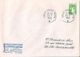 MARCOPHILIE NAVALE DRAGUEUR OCEANIQUE NARVIK M 609 JUILLET 1980 - Postmark Collection (Covers)