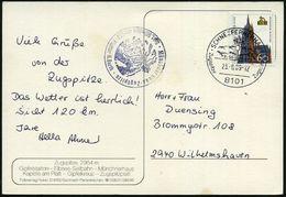 8101 SCHNEEFERNERHAUS/ ..Zugspitze/ Zugspitze 1989 (23.8.) HWSt = Hotelpostamt (Gipfelkreuz) Bedarfs-Color-Ak.: Zugspitz - Stamps