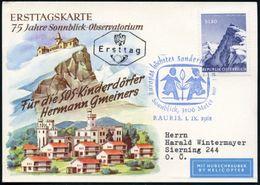 ÖSTERREICH 1961 (1.9.) Blauer SSt: RAURIS/ Europas Höchstes Sonderpostamt = Gipfelpostamt Observatorium (SOS-Logo) Rs. H - Stamps