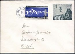 """SCHWEIZ 1939 Militär-Ganzsachen-Umschlag: """"9. DIV."""" Grün: Seilschaft-Patrouille Beim Aufstieg + Zusatzfrank. """"Geb. Mitr. - Stamps"""