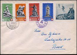 """SCHWEIZ 1940 Amtl. Feldpost-Ganzsachen-Umschlag """"9. DIV."""", Blaugrün: Alpine Seilschaft-Patrouille , 2x Viol. Feldpost-2K - Stamps"""