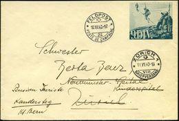 """SCHWEIZ 1940 (10.6.) 1K: FELDPOST/24/POSTE DE CAMPAGNE Auf Feldpost-Ganzsachen-Umschlag, Blaugrün: """"9. DIV."""" = Alpenjäge - Stamps"""