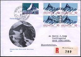 SCHWEIZ 1966 (10.10.) HWSt: MEIRINGEN/ZENTRUM DER ALPENSTRASSE = Paßstraße (mit Wegweisern) MiF 10 C. Finsteraarhorn 4er - Stamps